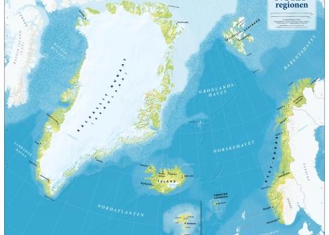 Kart over Nordatlanten og Norskehavet