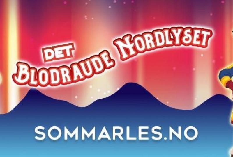 Illustrasjonsbanner der det står: Det Blodraude Nordlyset. sommarles.no