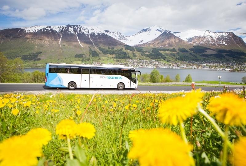 Buss kjører på veg blant fjell